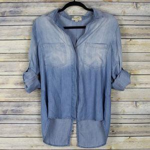 Cloth & Stone Chambray Top Split Shirt Tail Hem
